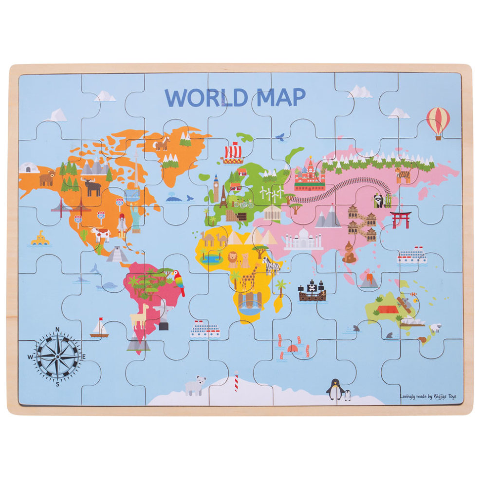 Bigjigs Toys Wooden World Map Puzzle - 35 Pieces