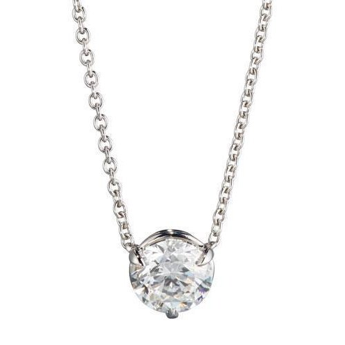 Necklace Pendant With Chain 1.00 Carat Sparkling Diamonds 14K White Gold