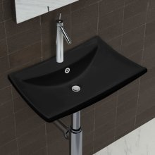 Black Luxury Ceramic Basin Rectangular with Overflow & Faucet Hole