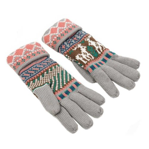 Women's Winter/fall Warm Lovely fawn Knitting Finger Gloves,Gray