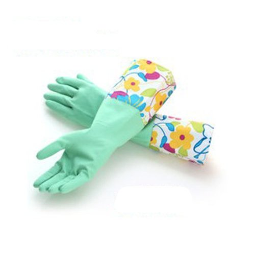 Winter Warm Extended Latex Rubber Dishes Washing Cleaning Gloves(40*16CM,Green)