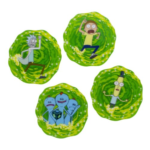 Rick & Morty 3D Lenticular Coasters Place Mats Set Circle Non Slip Drinks