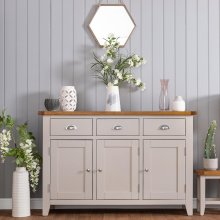 St. Ives Truffle Painted Oak 3 Door Large Sideboard
