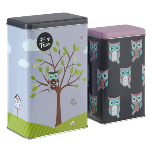 Happy Owls Storage Canisters, Multi-Coloured, Set Of 2
