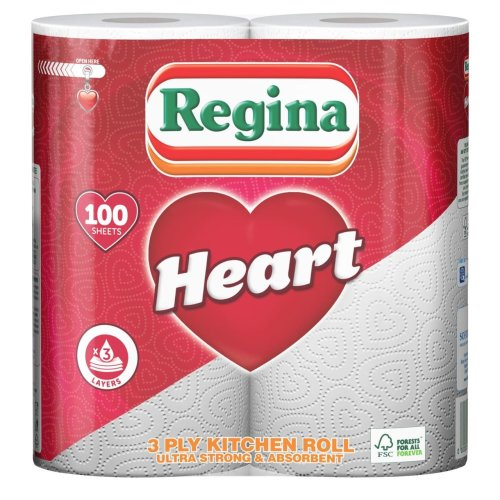 Regina 3 Ply Sheet Tissue Paper Heart Kitchen Towel Cleaning Bulk Buy - 20 Rolls