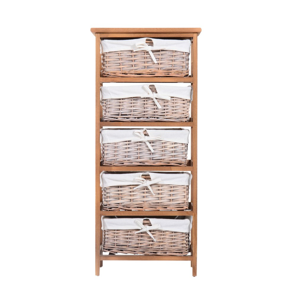 Basket Storage With Drawers Cabinets ~ Homcom drawer storage unit wooden frame with wicker