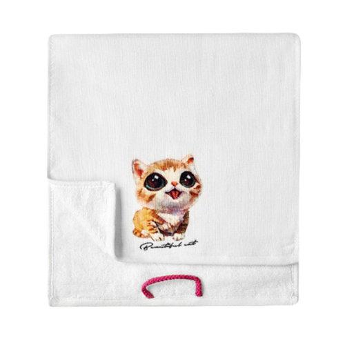 Lovely Design Soft Absorbent Cotton Towels for Kids 2 Pcs - Cat