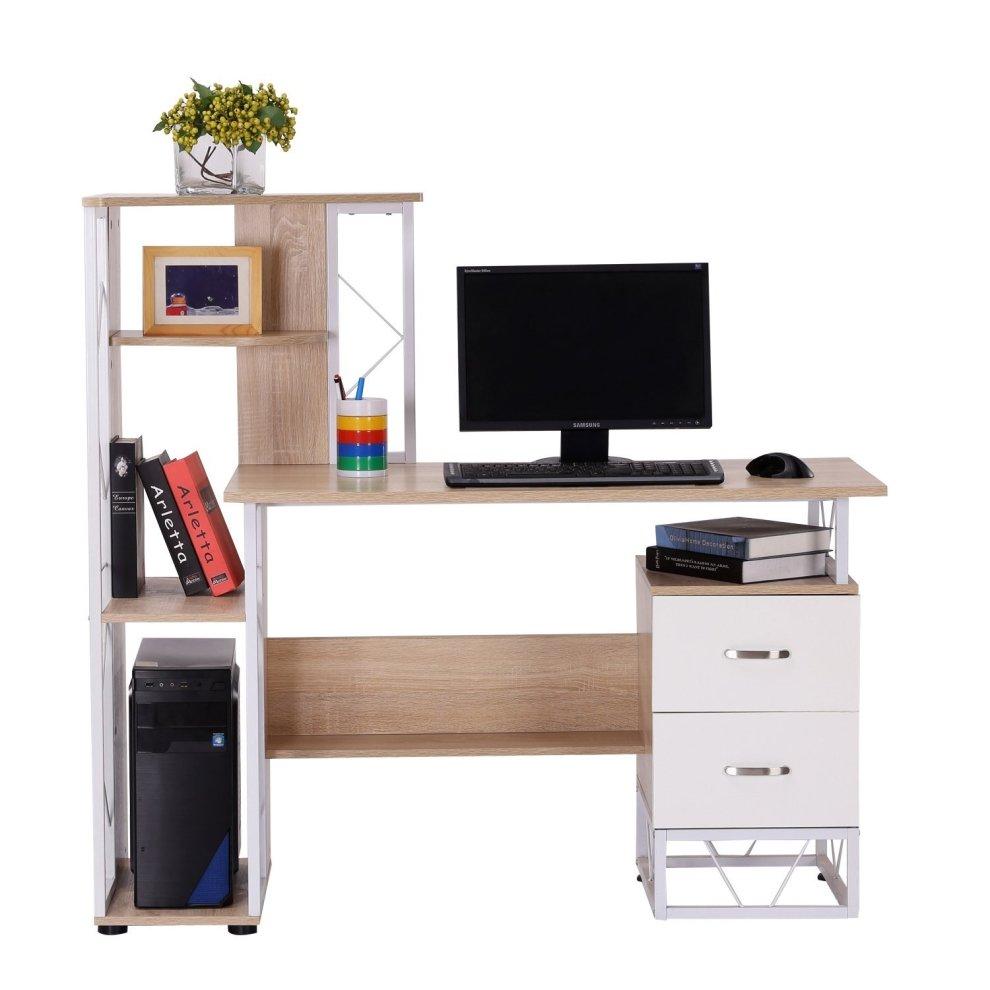 ... Homcom Computer Desk Pc Workstation W/2 Drawers Multi Shelves Office  Furniture   2 ...