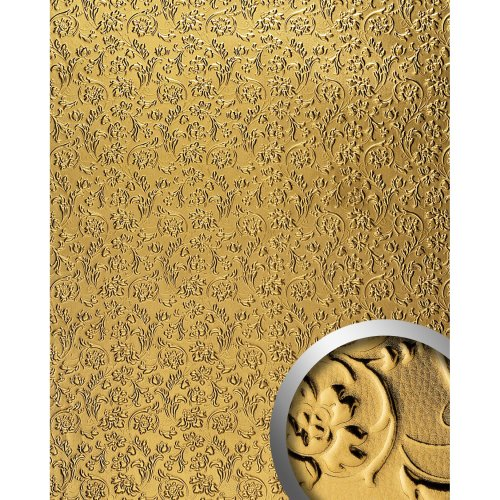 WallFace 14267 FLORAL Wall panel leather wall decoration flower gold | 2.60 sqm