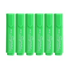 Set of 6 Tank-Style Colored Highlighters, Permanent Mark Pen For Students, Green