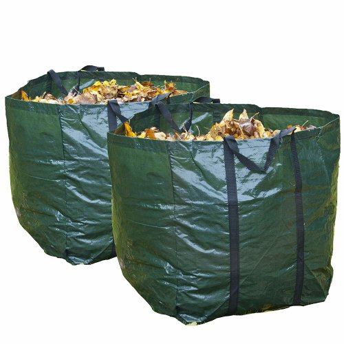GLOW Set of 4 Heavy Duty Garden Waste Bags with Carry Handles – Large Reusable Premium Double Stitched 150L Collapsible Folding Lightweight Outdoor Home and Garden Collection Bin Sack for Refuse Rubbish Leaves Soil Grass Weeds Cuttings Plants Flowers