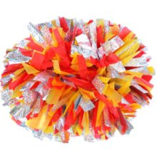 2 PCS Team Sports Cheerleading Poms Match Pom Plastic Ring Colorful-04