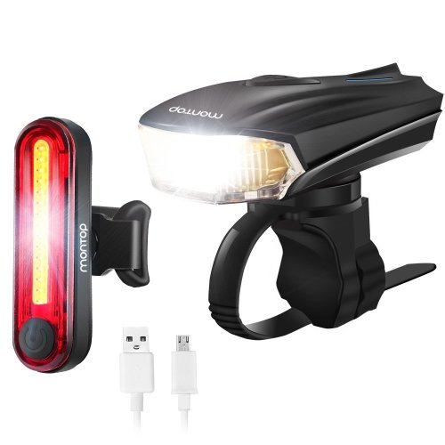 MONTOP Bike Light, USB Rechargeable LED Bike Lights, LED Bicycle Light Set Front Headlight and Back Tail Light, Waterproof Cycling Lights for Road...
