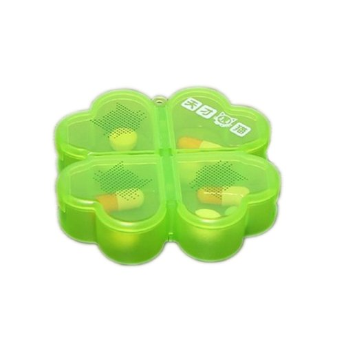 Four Leaf Clover 4 Compartment Portable Pill Box