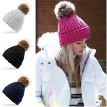 Beechfield Faux Fur Pom Pom Chunky Beanie Hat