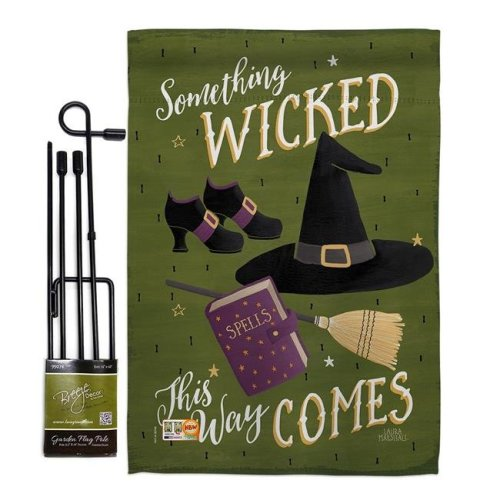 Breeze Decor BD-HO-GS-112082-IP-BO-D-US18-WA 13 x 18.5 in. Something Wicked Fall Halloween Vertical Double Sided Mini Garden Flag Set with Banner Pole