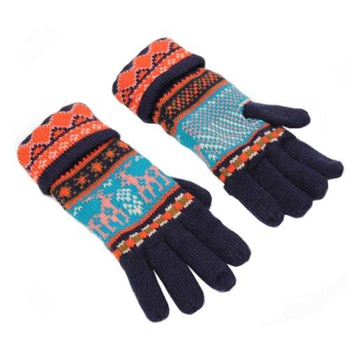 Women's Winter/fall Warm Lovely fawn Knitting Finger Gloves,Navy