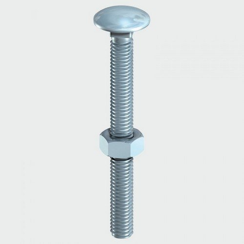TIMco 0620CB Carriage Bolt and Hex Nut BZP 6.0 x 20mm Box of 200