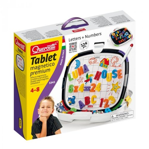 Quercetti Tablet Magnetico Premium  Double Sidesd Magnetic Board With Letters and Numbers Ages 4-8 Years