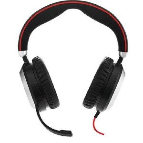Jabra Evolve 80 Ms Wired Over-The-Head Stereo Headset Black Circumaural Noi 7899-823-189