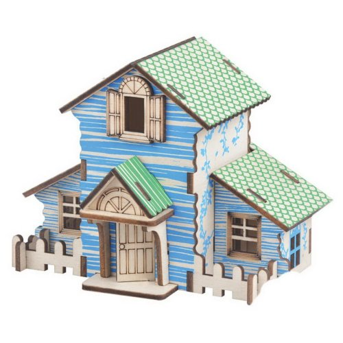 Children's Wooden Puzzle Stereo 3D Simulation Toys Model, Forest Hut (22 Pieces)
