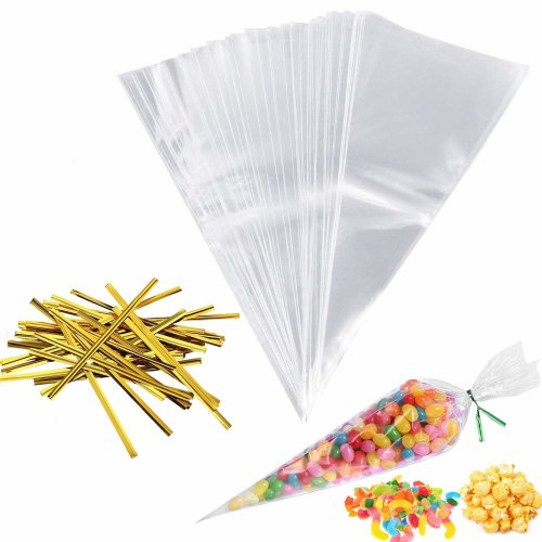 Panzo Products 100pc Clear Plastic Cone Bags | Sweet Treat Cello Gift Party Bags | 100 Gold Twist Ties | Perfect for Birthday Parties, Wedding Favors, Baby Showers