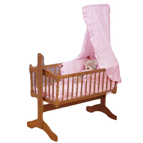Broderie Anglaise Baby Crib 3 Piece Bedding Set Pink