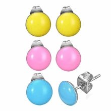 Urban Male Set of Three Stainless Steel & Coloured Resin Stud Earrings