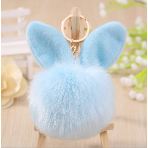 Fluffy rabbit ear pendant pom-pom key chain car keychain backpack wallet pendant