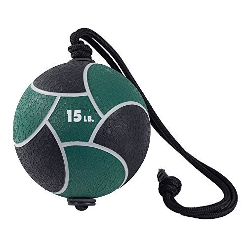 Power Systems Power Rope-Ball, 11-Inch Medicine Ball with 36 Inch Rope Handle, 15 Pounds, Green (25108)