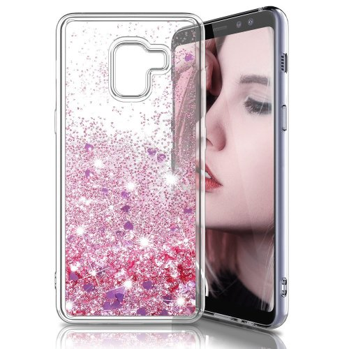 65307426b24bb9 LK Case for Samsung Galaxy A8 Plus 2018, Slim Shiny Bling Glitter Heart  Cute Luxury Sparkly Crystal Liquid Quicksand Silicone Shockproof  Protective... on ...