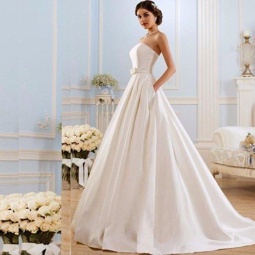 A Line Wedding Dresses  Vintage Pockets Bow China Vestidos De Novia Backless Plus Size Button Bride Bridal Gowns