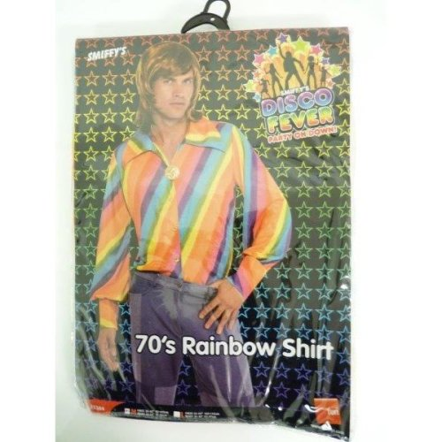 1970's Medium Rainbow Shirt -  shirt 1970s rainbow fancy dress disco colour mens hippie costume adult 60s hippy