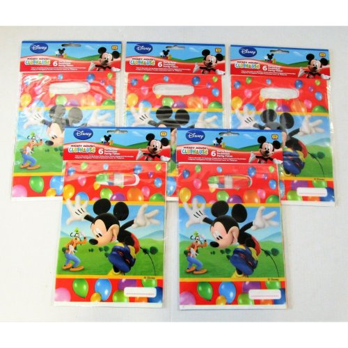 Pack of 30 Mickey Party Plastic Time Party Bags - 16.5 x 23 cm Disney Favour bag