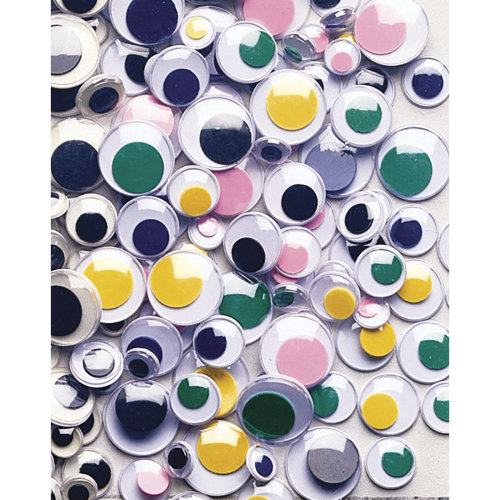 Peel & Stick Wiggle Eyes Assorted 7mm To 15mm 100/Pkg-Assorted