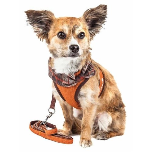 Pet Life HA27TNMD Luxe Pawsh 2-in-1 Mesh Reversed Adjustable Dog Harness-Leash with Fashion Bowtie, Tangerine - Medium