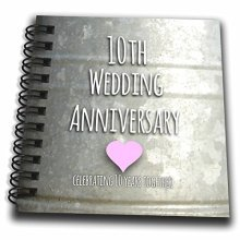 """3dRose db_154441_3 10Th Wedding Anniversary Gift Tin Celebrating 10 Years Together Tenth Anniversaries Ten Yrs Mini Notepad, 4 by 4"""""""