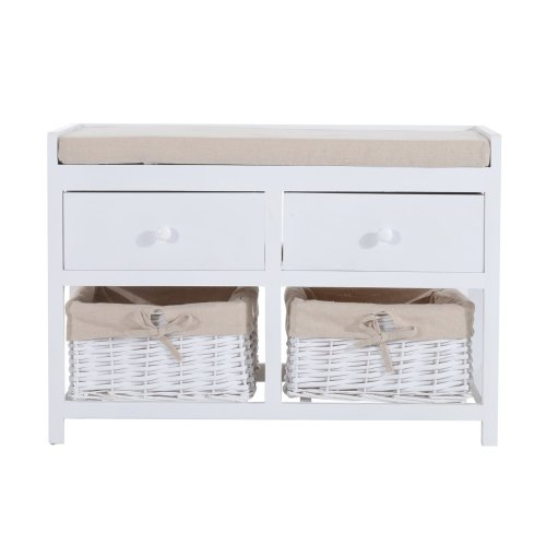 Homcom White Wooden Storage Bench | 2 Drawers & 2 Wicker Baskets