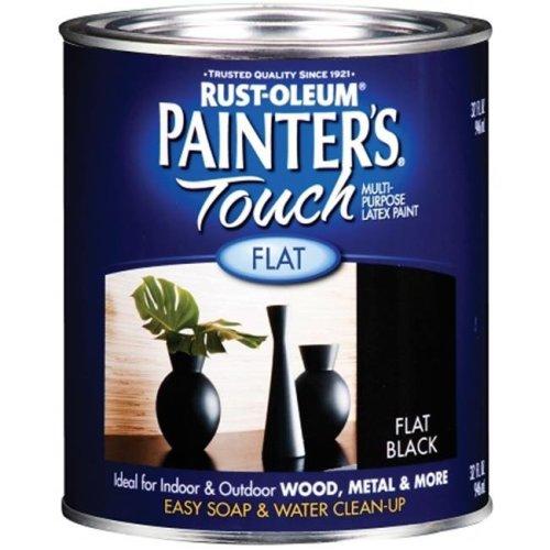 Rustoleum 1 Quart Flat Black Painters Touch Multi-Purpose Paint  1976-502