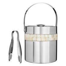 Ice Bucket with Mother of Pearl Inlay Design, Silver