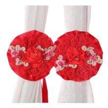 [Red] 1 Pair Stylish Lace Flowers Curtain Tiebacks Buckles Holdbacks