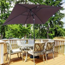 Outsunny Patio Umbrella Parasol W/ Tilt Crank-Brown