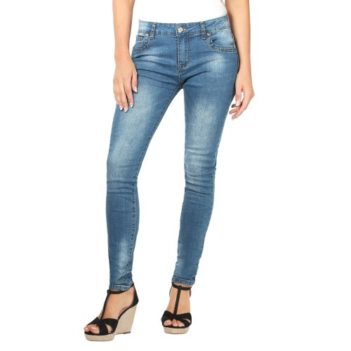 Crushed Denim Skinny Jeans