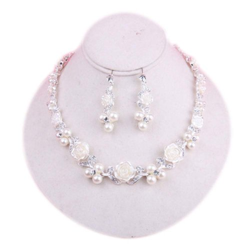 Exquisite Wedding Jewelry Clip-on Earrings & Beautiful Necklace Bridal Dowry Set