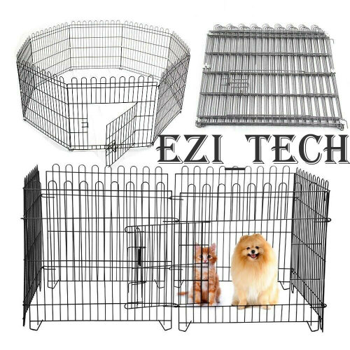 8 Panel Pet Play Pen Dog Puppy Exercise 61cm Run Cage Metal Fence