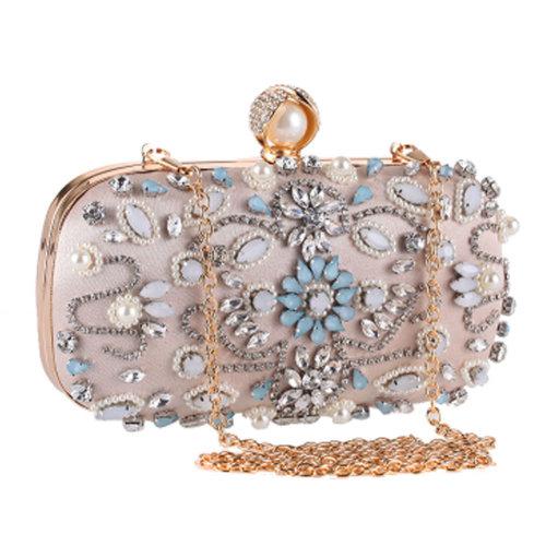 Women's Vintage Style Clutch Evening Bag Elegant Beaded Bag Luxurious Handbag Purse Cocktail Party,C