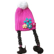 Cute Baby Girl Knitted Hat Kids Cap with Braids Flowers