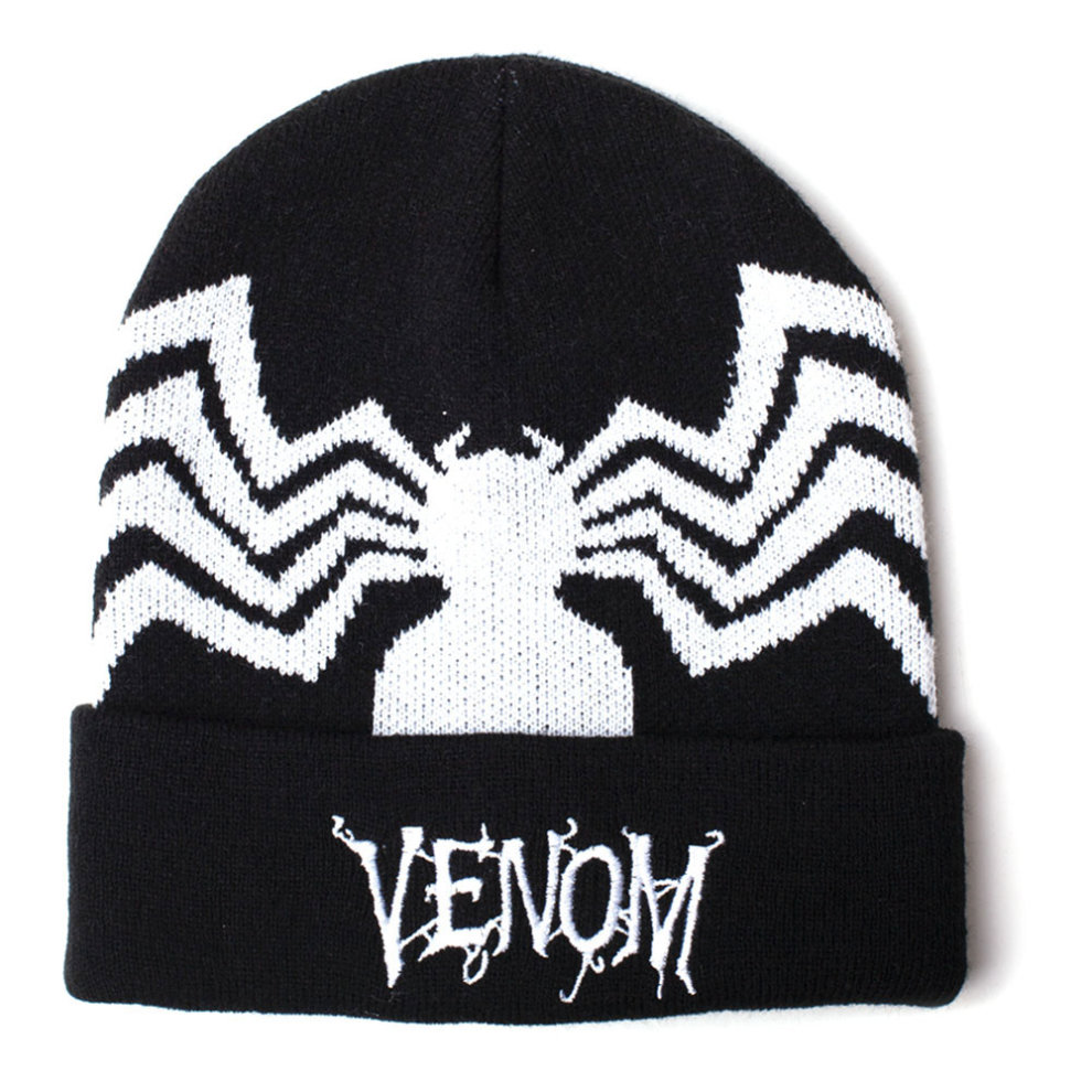 dcc03d5f2 MARVEL COMICS Venom Embroidered Logo Woven Rollup Beanie, Unisex, Black  (KC061078MAR)