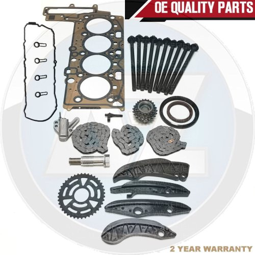 FOR BMW 120d UPPER LOWER DIESEL TIMING CHAIN KIT ROCKER COVER HEAD GASKETS BOLTS