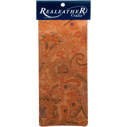 """Realeather Crafts Goat Leather Trim Piece 9""""X3""""-Paisley"""